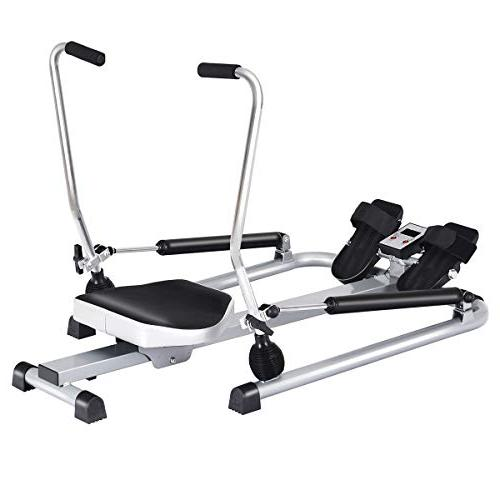Goplus Hydraulic Rower with Adjustable Resistance Arm 250 Weight Exercise Fitness Equipment for Use
