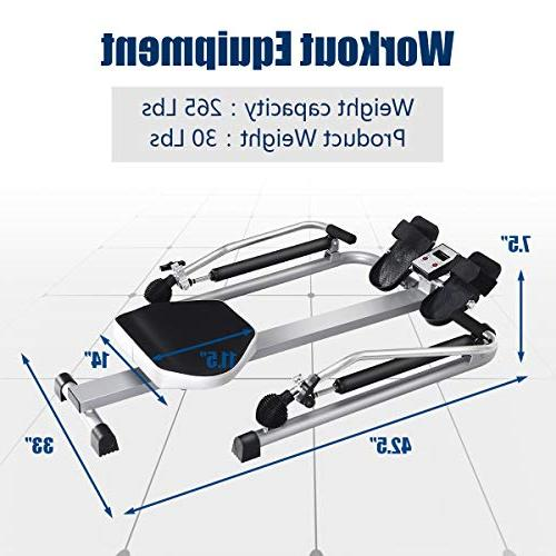 Goplus Hydraulic Rowing Rower with Adjustable Arm Weight Exercise Cardio Fitness Use