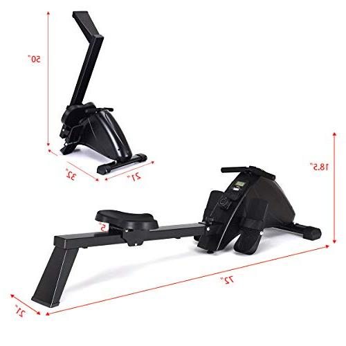 Goplus Foldable Rower with 10-Level System, LCD Full Body Exercise Home