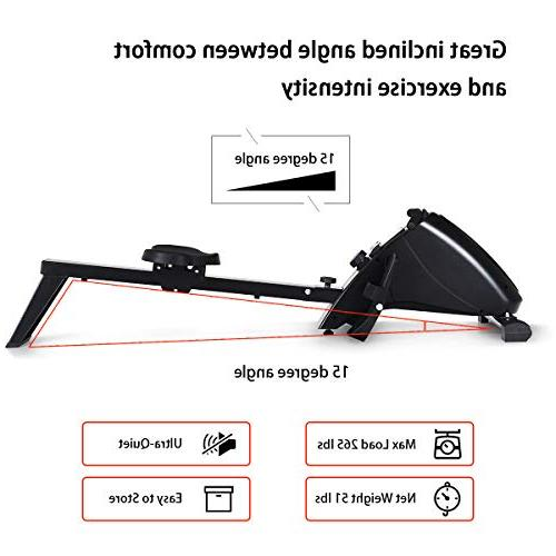 Goplus Rowing Foldable Exercise Rower 10-Level Tension Resistance LCD Monitor, Full Home