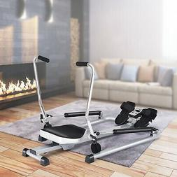 Gymax Rowing Machine Exercise Adjustable Double Hydraulic Re