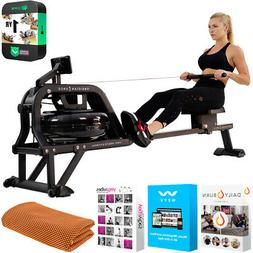 Sunny Health and Fitness Obsidian Surge Water Rowing Machine