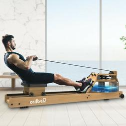 Water Rower Cardio Fitness Natural Wood Rowing Machine LCD M
