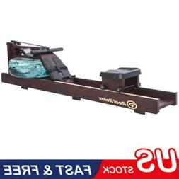 Water Rower Cardio Fitness Wood Rowing Machine LCD Monitor H