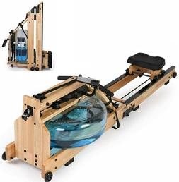 Water Rowing Machine Cardio Rower Natural Wood Home Fitness